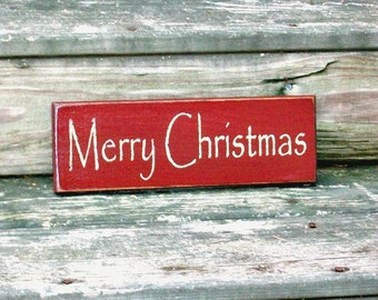 Merry Christmas - Primitive Country Painted Wall Sign, Holiday decor, Christmas Sign, Christmas Decoration