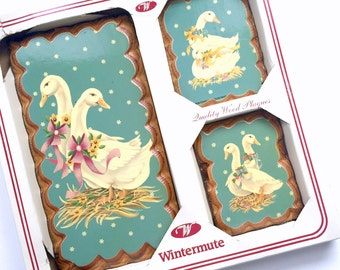 Wintermute Duck Plaques, Vintage Wooden Duck Geese Plaques, Duck Wall Hanging Set, Geese Wall Decor, Farmhouse Decor, Country Wall Decor