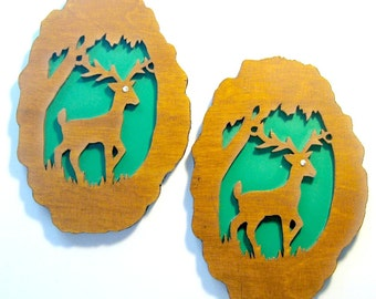 SALE - Wood Cut Deer Wall Decoration, Funny Deer, Vintage Handmade Deer Plaques, Two Deer Cabin Decoration, Lodge Decor, Rustic Wall Hanging