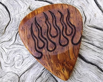 Wood Guitar Pick - Premium Quality - Handmade From Afzelia Xylay - Laser Engraved On Each Side - Actual Pick Shown - Artisan Guitar Pick