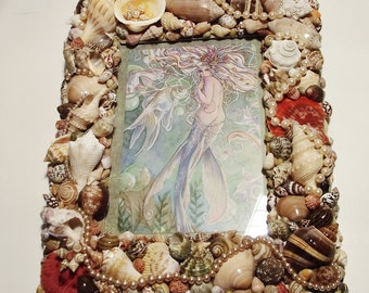 Seashell Picture Frame, Seashell Wall Decor, Mermaid, Brown, Pearls, 8 x 10 inches