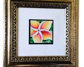 Original Fine Art, Hawaiian Tropical Flower Art Watercolor Painting Plumeria Framed by Christie Marie Elder - (Ussher)