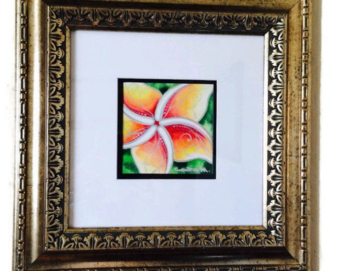 Original Fine Art, Hawaiian Tropical Flower Art Watercolor Painting Plumeria Framed by Christie Marie Elder - (Ussher)