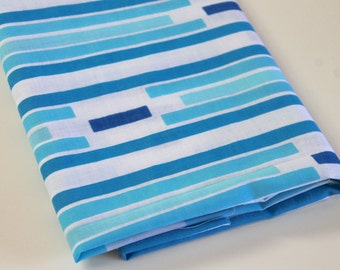 Vintage Reclaimed Bed Sheet Fabric reclaimed bed linen fabric Shade of Blue turquoise retro Arizona Mesa Southwestern Stripe quilting fabric