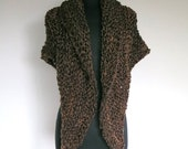 Outlander Inspired Claire's Cape Dark Brown Color Knitted Chunky Yarn Sassenach Rustic Shawl Large Wrap Stole with Tassels