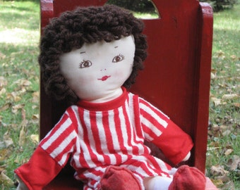 Handmade Doll Cloth Toy Embroidered Face Red Striped Pajamas Socks Shoes Brunette So Sweet