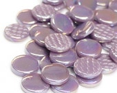 25 Lavender Purple Iridescent Gems/Flat Penny Round Glass Mosaic Tiles 3/4 inch//Purple CabachonMosaic//Mosaic Supplies//Crafts