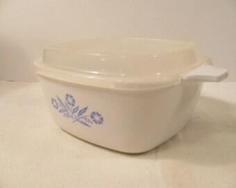 Blue Cornflower - Corning Ware Petite Pan - Small Casserole w/ Plastic Lid - P-43-B ,