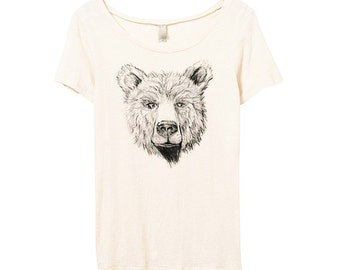Womens Bear Tshirt - Bear Face Shirt - Eco Friendly Organic Cotton - Bamboo - Small, Medium, Large, XL
