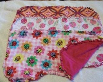 Pink Ladybug Burp Cloths Set of Three