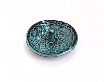 Turquoise and Deep Brown Ring Holder - Lace Pattern - Ceramic, Pottery, Handmade - Ring Dish, Jewelry Dish, In Stock, Lauren Sumner Pottery