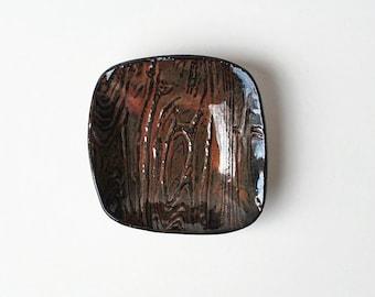 Woodgrain ceramic dish - key holder - watch holder - man dish - Lauren Sumner Pottery