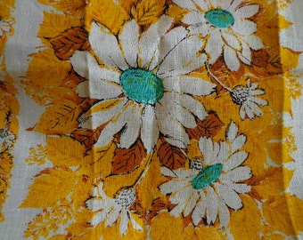 Vintage Linen Tea Towel with Sunflower Motif