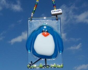 BLue Bird of Happiness // Fused GLass Suncatcher // Ornament /// Sun Catcher // Laugh // Bright // Fun // Cheerful // Happy // Get Well