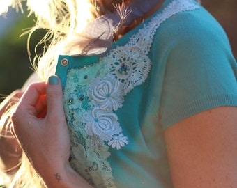 altered couture teal crop cardigan, Upcycled turquoise cropped cardigan top, recycled beaded vintage lace cardigan