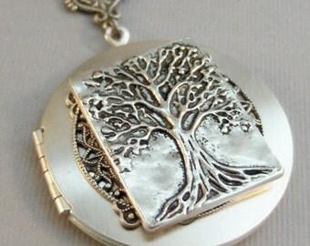 My Family Tree,Locket,Silver Locket,Tree,Tree Locket,Gold,Silver,Silver Locket,Tree,Family,Antiqued,Charm,Necklace,PendantValleygirldesigns.