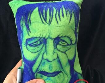 Frankenstein Plush Mini Pillow - Halloween Monster - Horror Movie Monster Fan Art - Minky Throw Pillow - Original Artwork Decorative Plush M