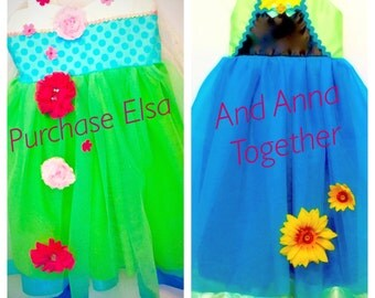 Elsa & Anna Spring Dress: Costumes, detachable cape, Princess dinner, Birthday, adjustable, vacation, flowers, pink, green, turquoise yellow