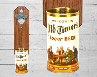 Wall Mounted Bottle Opener with Vintage Wisconsin Old Timer's Lager Beer Can Cap Catcher