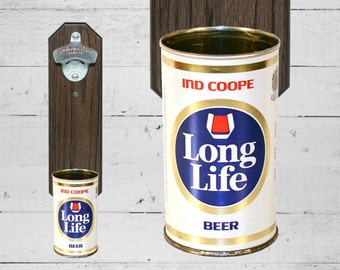 Valentines Gift for Guy Long Life Wall Mounted Bottle Opener with Vintage Ind Coope Beer Cap Catcher
