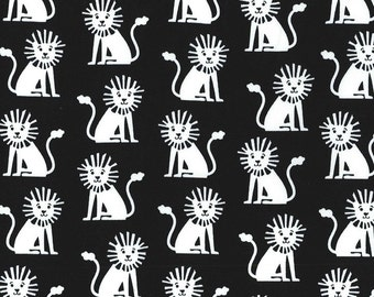 Mini Lions in Black by Michael Miller Fabrics - you choose the cut