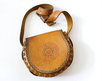 Vintage 70s Hand Tooled Shoulder Bag