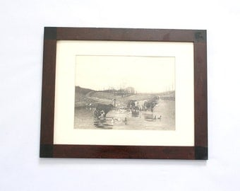 Antique 19th Century Cow Print in Wood Frame Carlo Pittara