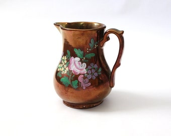 Vintage Copper Lusterware Pitcher with Floral Hand Paint