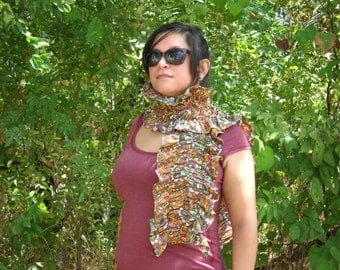 Paisley Medallion Dot Ruched Scarf