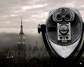 New York Print, Empire State Building, NYC Skyline in Fog- Black Silver NY City Office Decor