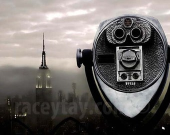 New York Print, Empire State Building, NYC Skyline, Fog, NYC Art, Gray, Silver, New York Skyline