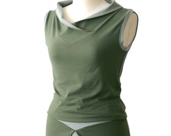 Summer top, Cotton vest, Sleeveless Blouse, Green top, V-neck vest, Plus size vest, Wide collar, Plus size clothing, Made to order top, Vest