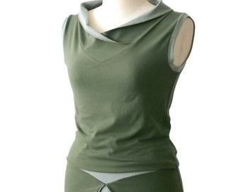 Summer top, Cotton vest, Sleeveless Blouse, Green top, V-neck vest, Plus size vest, Wide collar, Plus size clothing, Made to order top, Vest