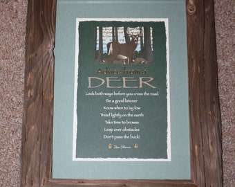 Framed Postcard - Advice From a Deer - Your True Nature - Western - Rustic