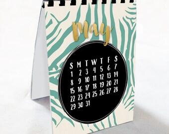 2017 Zebra Print and Gold Foil Calendar - Desk Calendar, Comb Bound, Wall Calendar, or Single Pages