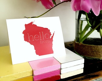 Hello From Wisconsin Greeting Card/Thinking of You Card