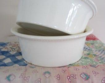 Vintage Ironstone Souffle / Casserole Dishes Set of 2