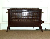Antique Electric Radiator Apex Heater Brown Red Speckle Porcelain Enamel Clear GLASS Handles Cute for Bungalow