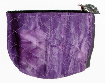 Batik Quilted Small Cosmetic Bag with Zipper and Charm
