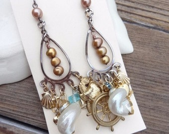 A Sailors Dream. Upcycled Assemblage Dangle Earrings. Pearls, Shells, Rhinestones, Anchor Charm Earrings
