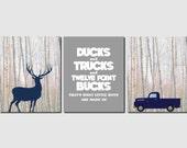Baby Boy Nursery Decor Ducks and Trucks and Twelve Point Bucks Boys Room Kids Wall Art Boys Room Deer Truck Hunting Set of 3, Art Prints