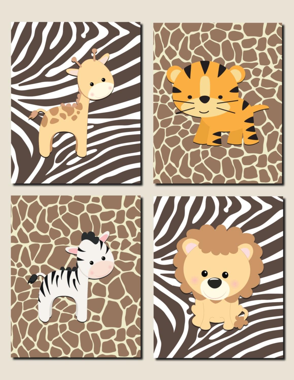Jungle Wall Decor For Nursery : Jungle animals nursery wall art baby girl