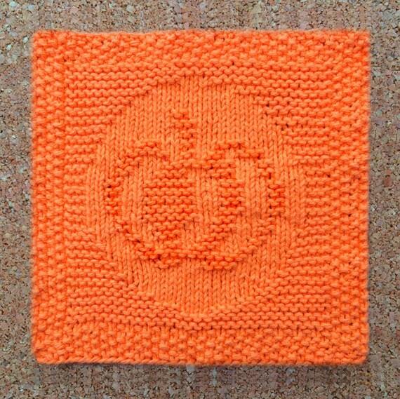 Knitted Dishcloth Patterns For Halloween : pumpkin dishcloth halloween 100% cotton jack o lantern