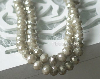 Rondelle Crystal Glass Faceted beads 8x10mm Opaque Grey Coffee Sparkly- (#BZ10-53)/ 70pcs