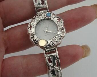 Silver and Gold Women Watch, Silver Bracelet Watch, Silver Opal Watch, Israel Jewelry, Blue Opal, Silver Bracelet  ( w 3013)