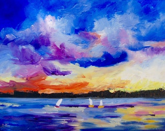 Modern Abstract Impressionist Sailing Sunset Original Oil Landscape by Rebecca Croft