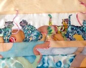 """RESERVED - Hand painted silk scarf """"Springtime Cats"""" - RESERVED"""