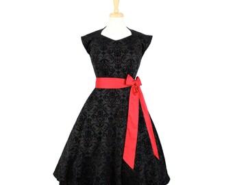 Damask Vintage Inspired Black Full Circle Dress