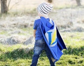 Boy Superhero Cape Personalized Letter Lightening Bolt Blue and Grey , 2T - 7T, super hero costume big sister fast delivery Worldwide