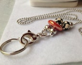 Soccer and Red Bead Chain Charm ID Badge Lanyard with lobster claw clasp